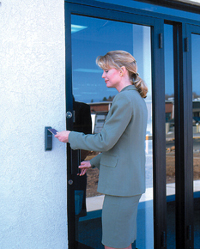 Access Control Door and Reader in use